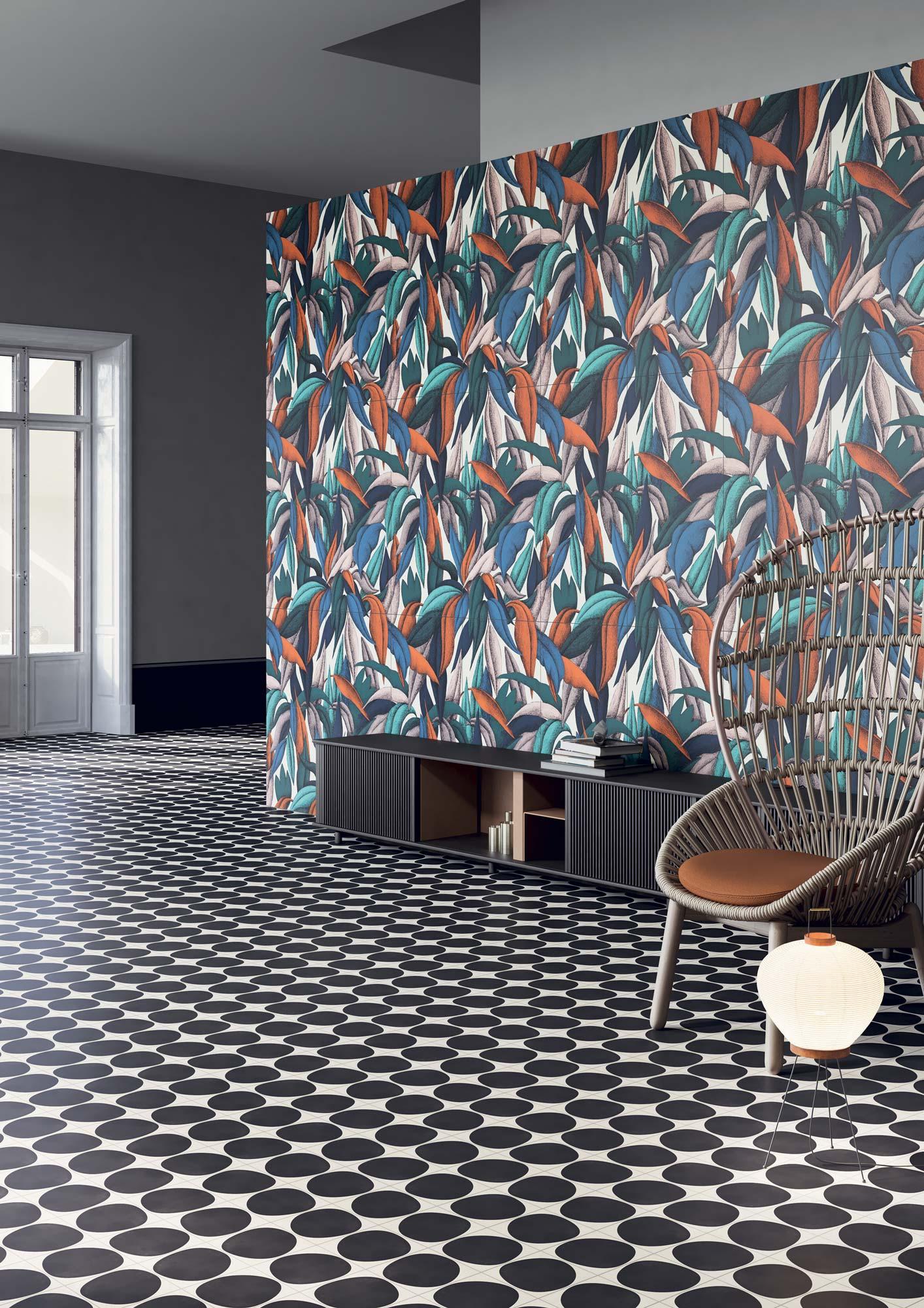 """Wall Paper41 Pro Colette 50x100 20""""x40"""" - Floor Futura Drop Black 15x15 6""""x6"""""""