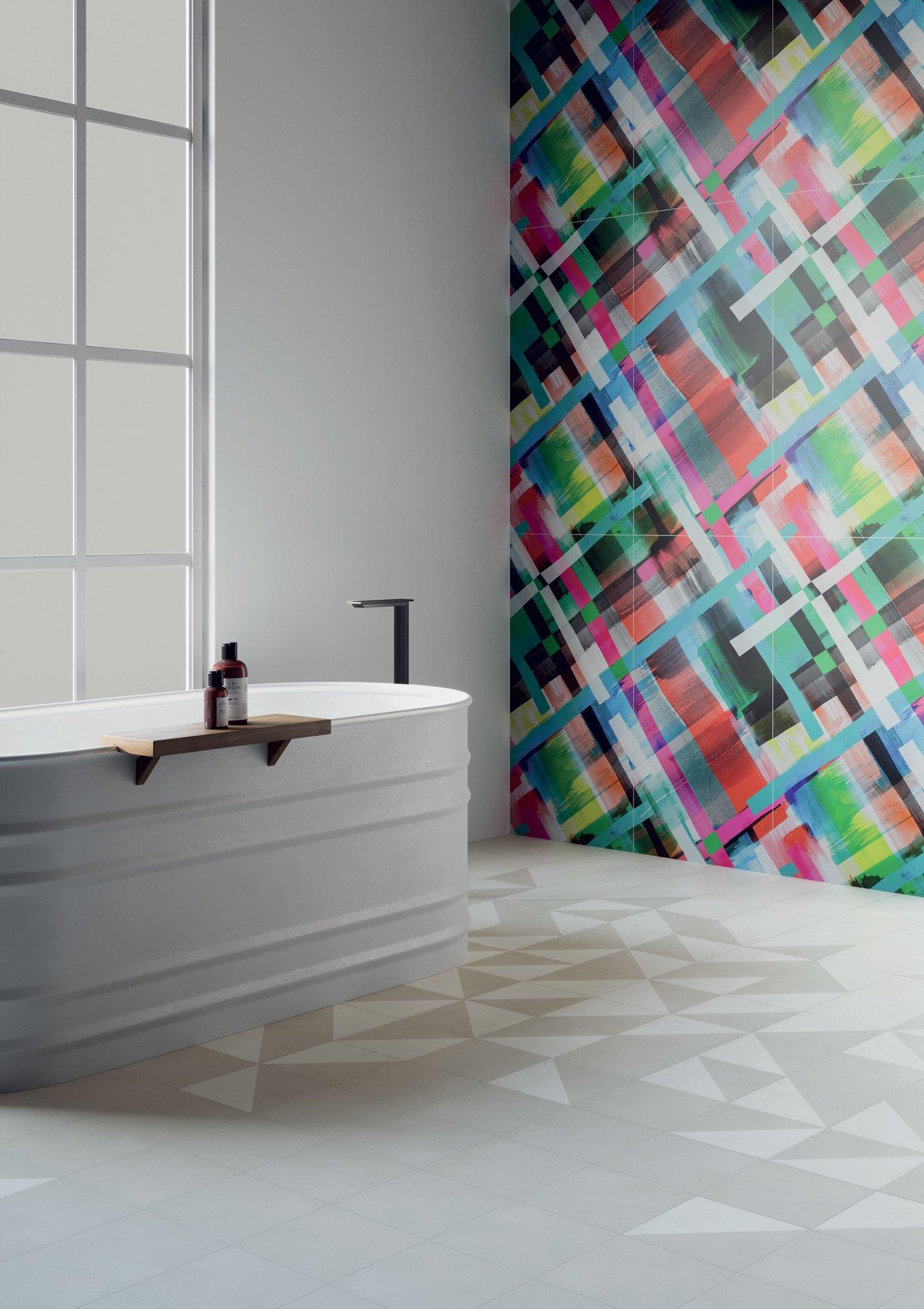 "Wall Paper41 Pro Lola 50x100 20""x40"" - Floor Futura White + Grey + Half White 15x15 6""x6"""