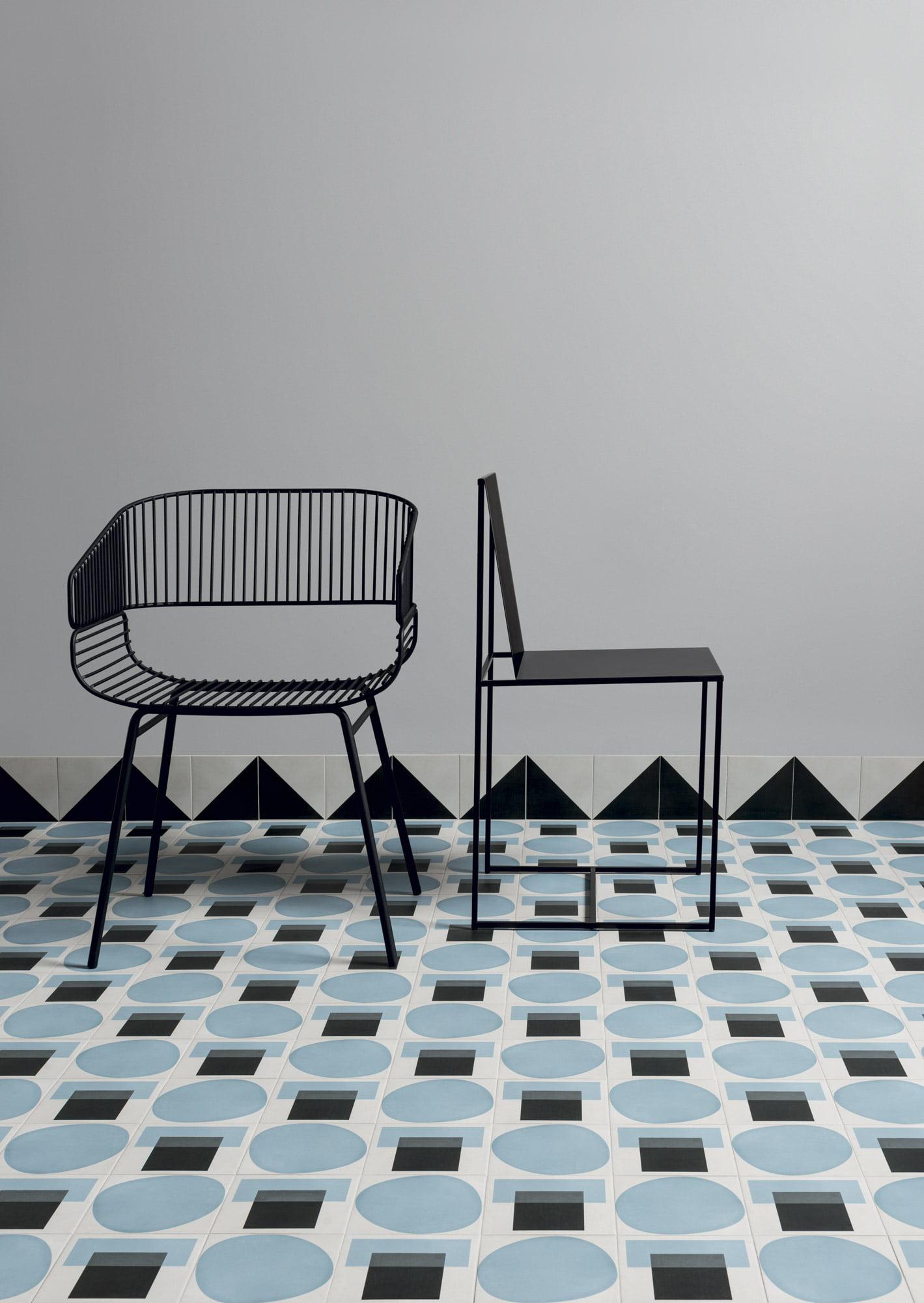 """Wall Futura Half Black - Floor Futura T Blue - Futura Drop Blue 15x15 6""""x6"""""""