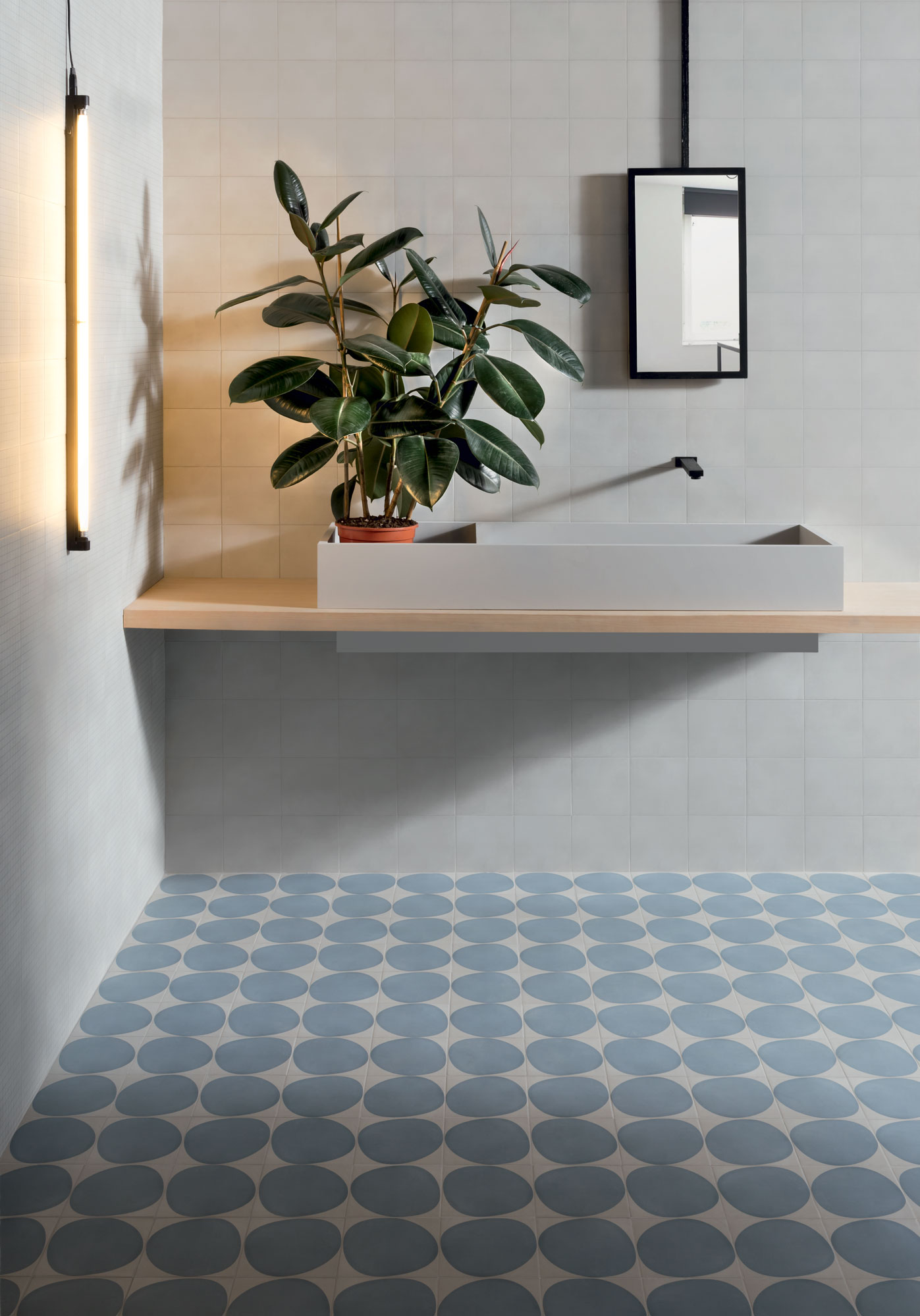 "Wall Futura Grid Blue / Futura Grey - Floor Futura Drop Blue 15x15 6""x6"""