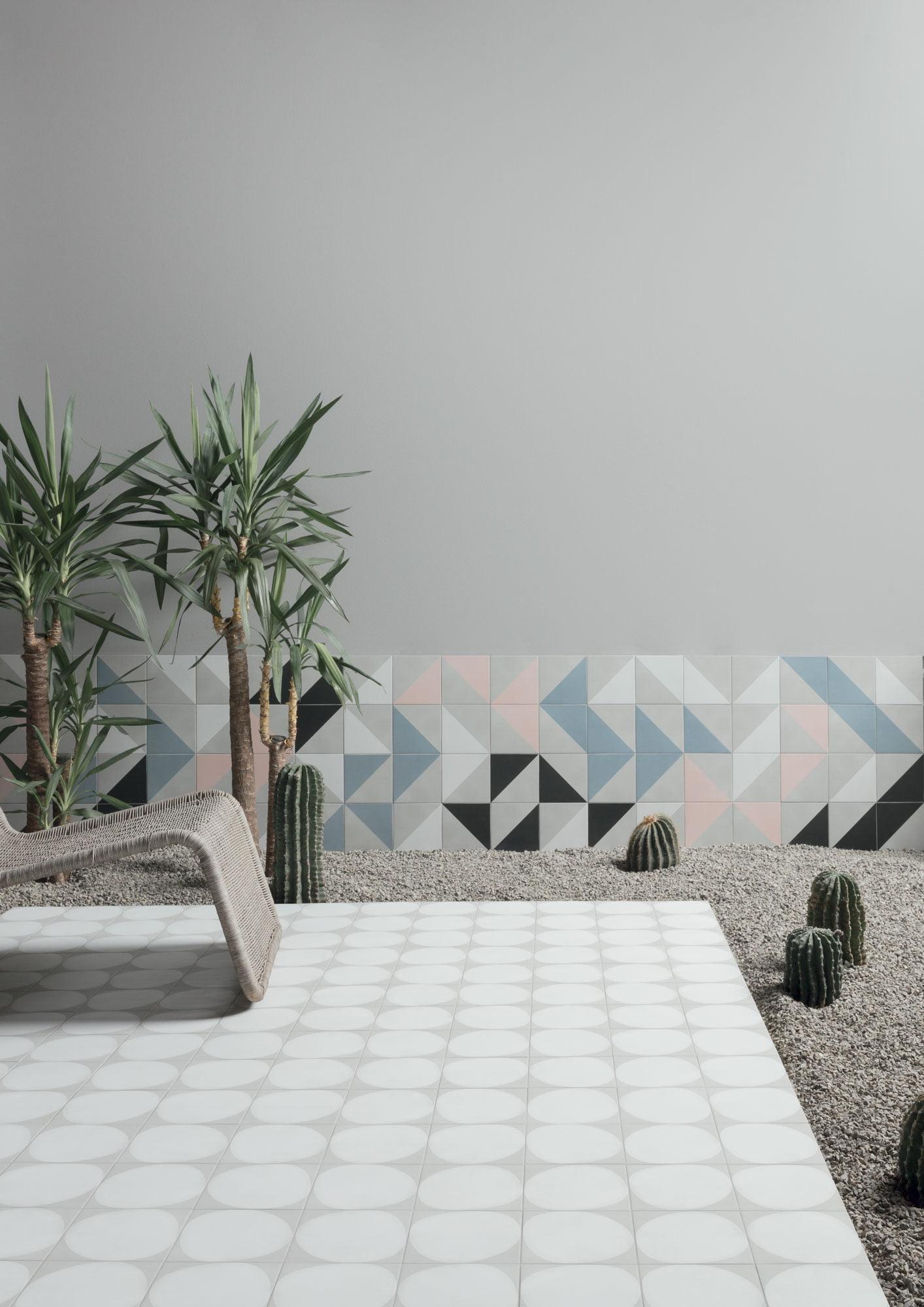 "Wall Futura Half Black / Blue / White /Rose – Floor Futura Drop White 15x15 6""x6"""