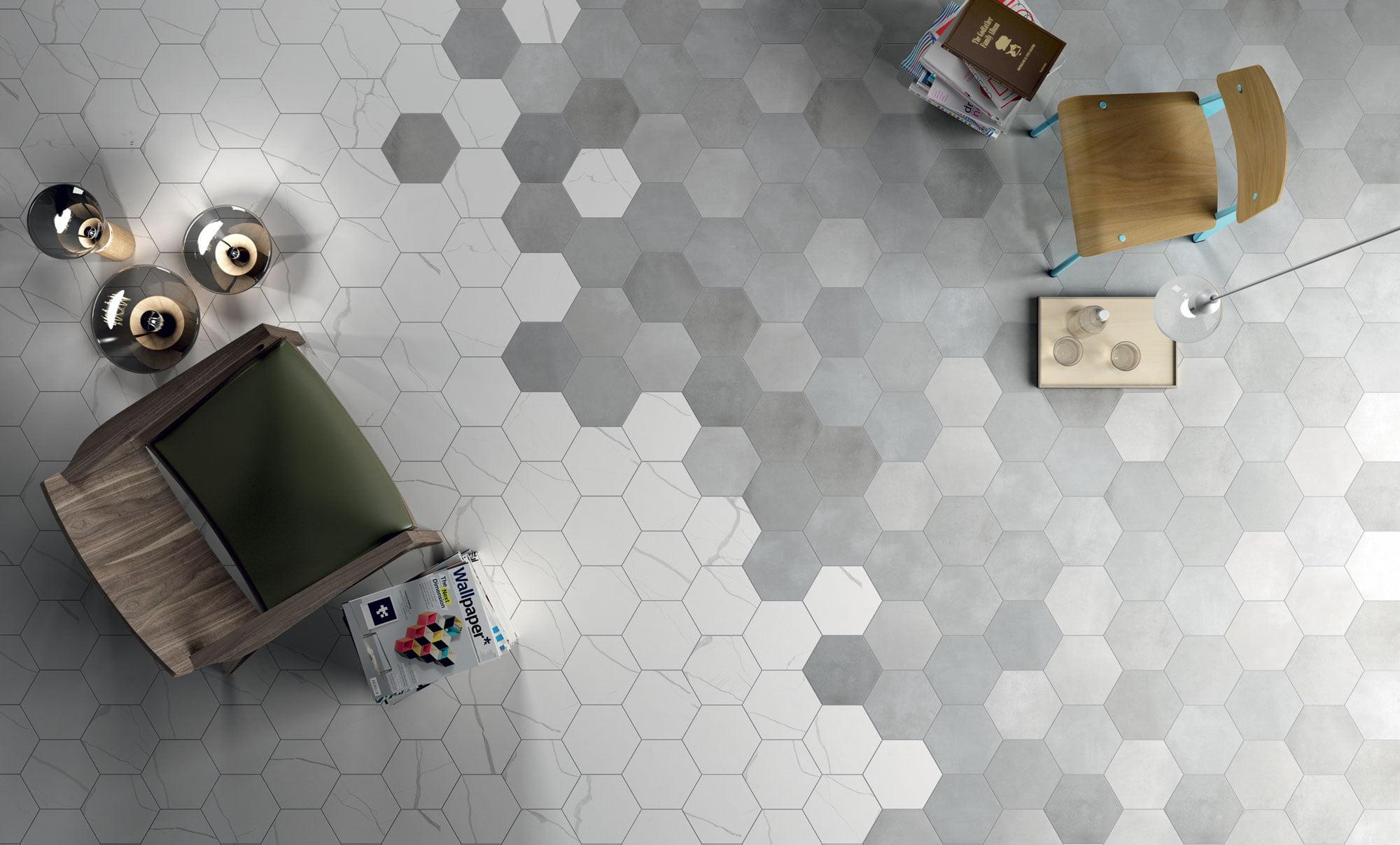 "Esagona Mate Marmo Bianco + Esagona Mate Terra Fumo 22,5x19,5 9""x8"""