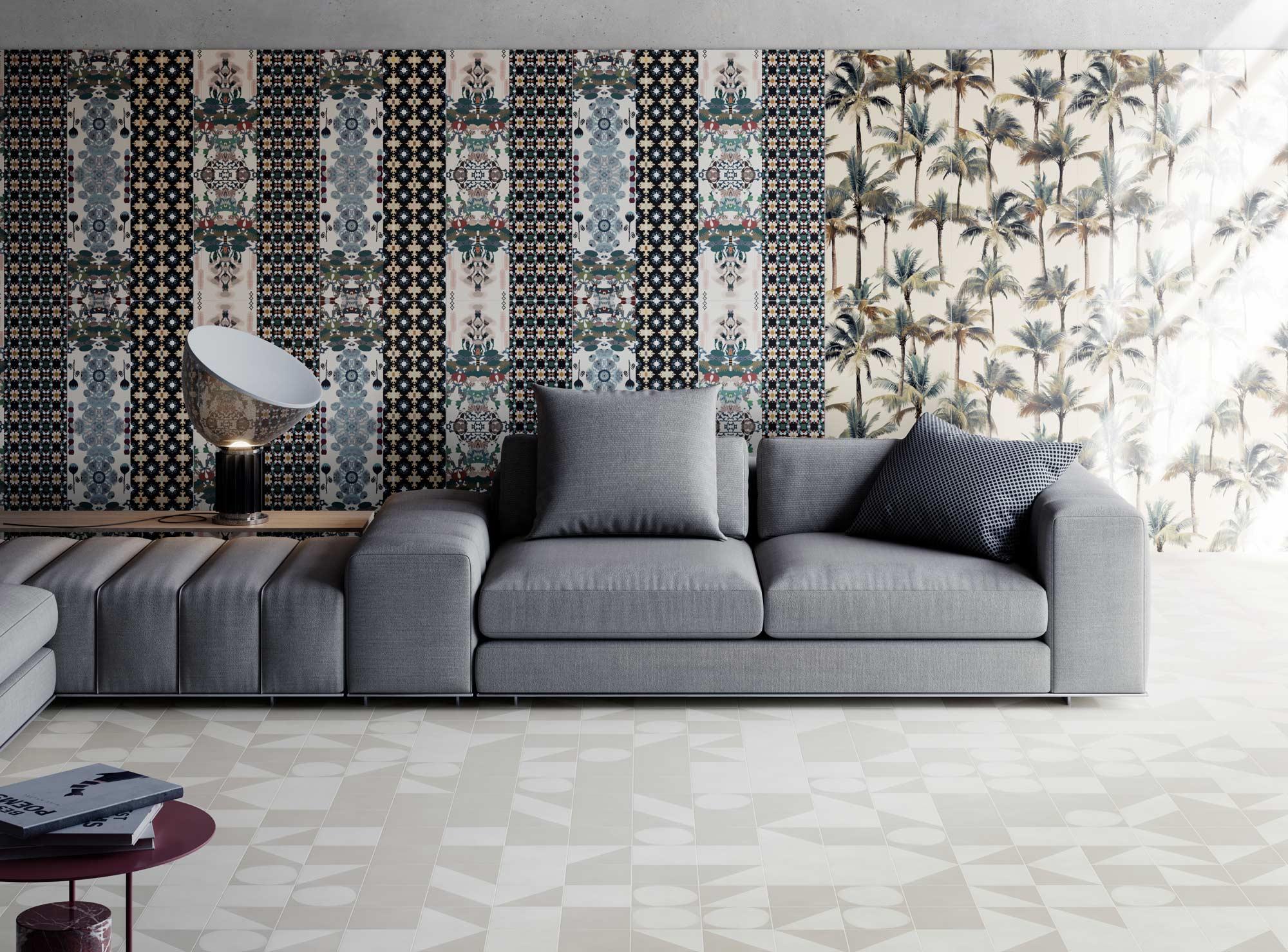 """Wall Paper41 Pro Paz + Luz 50x100 20""""x40"""" - Floor Futura White + Grey + Half White + Drop White 15x15 6""""x6"""""""