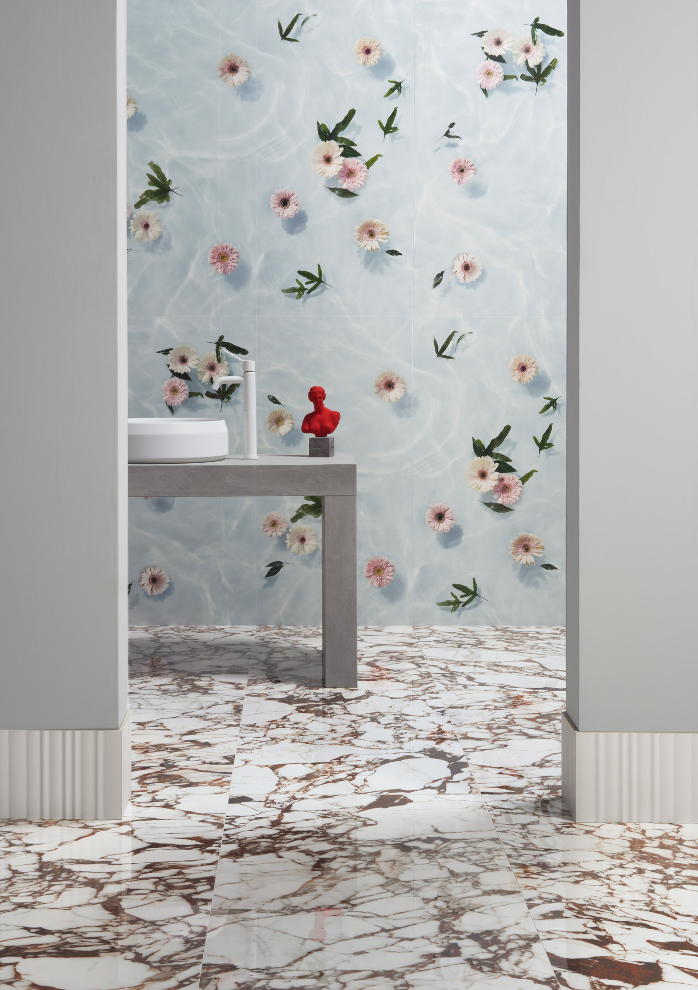 "Wall Paper41 Lux Louis 60x120 24""x48"" - Parallel 20x60 8""x24"" - Floor Pulp Red Double Polished 60x120 24""x48"""