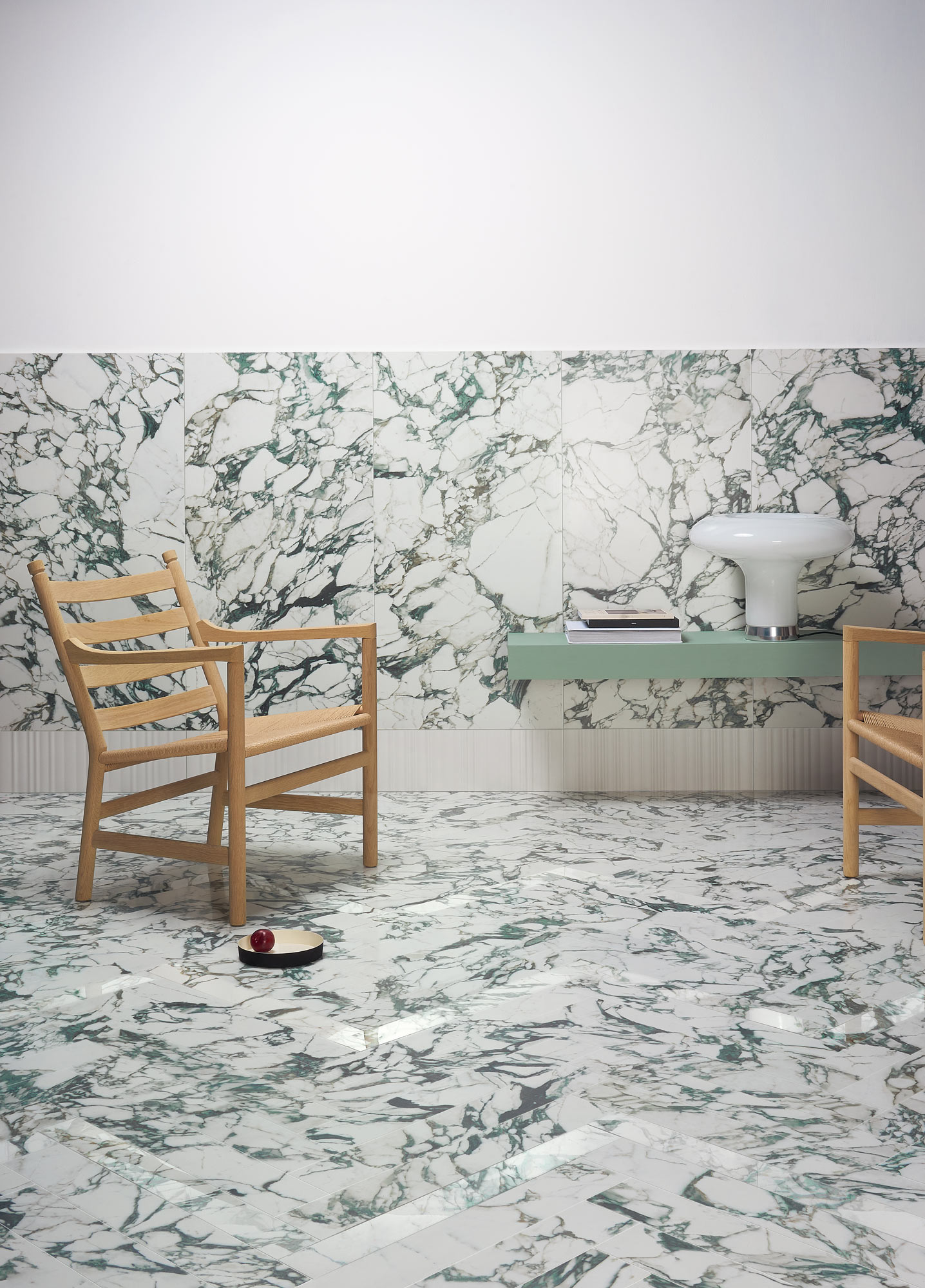 "Wall Pulp Green Double Honed 60x120 24""x48"" - Parallel 20x60 8""x24"" - Floor Pulp Green Double Honed 10x60 4""x24"" - Pulp Green Double Polished 7,5x60 3""x24"