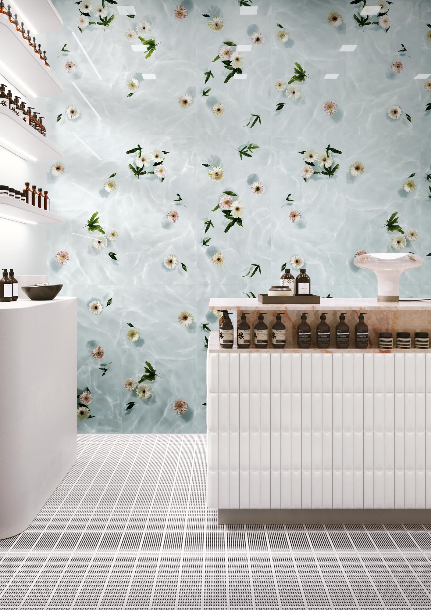 "Wall Paper41 Lux Louis 60x120 24""x48"" - Desk Biscuit Dune Bianco 5x20 2""x8"" - Floor Sunday Twist Notte 10x20 4""x8"""