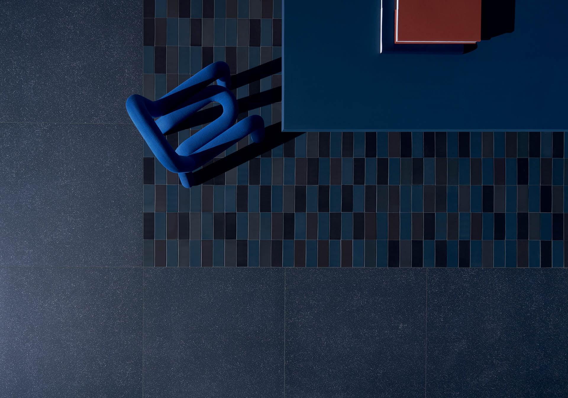 "Cosmo Blu 80x80 32""x32"" - Brick Matte Blu-Nero 6,5x15,5 3""x6"""