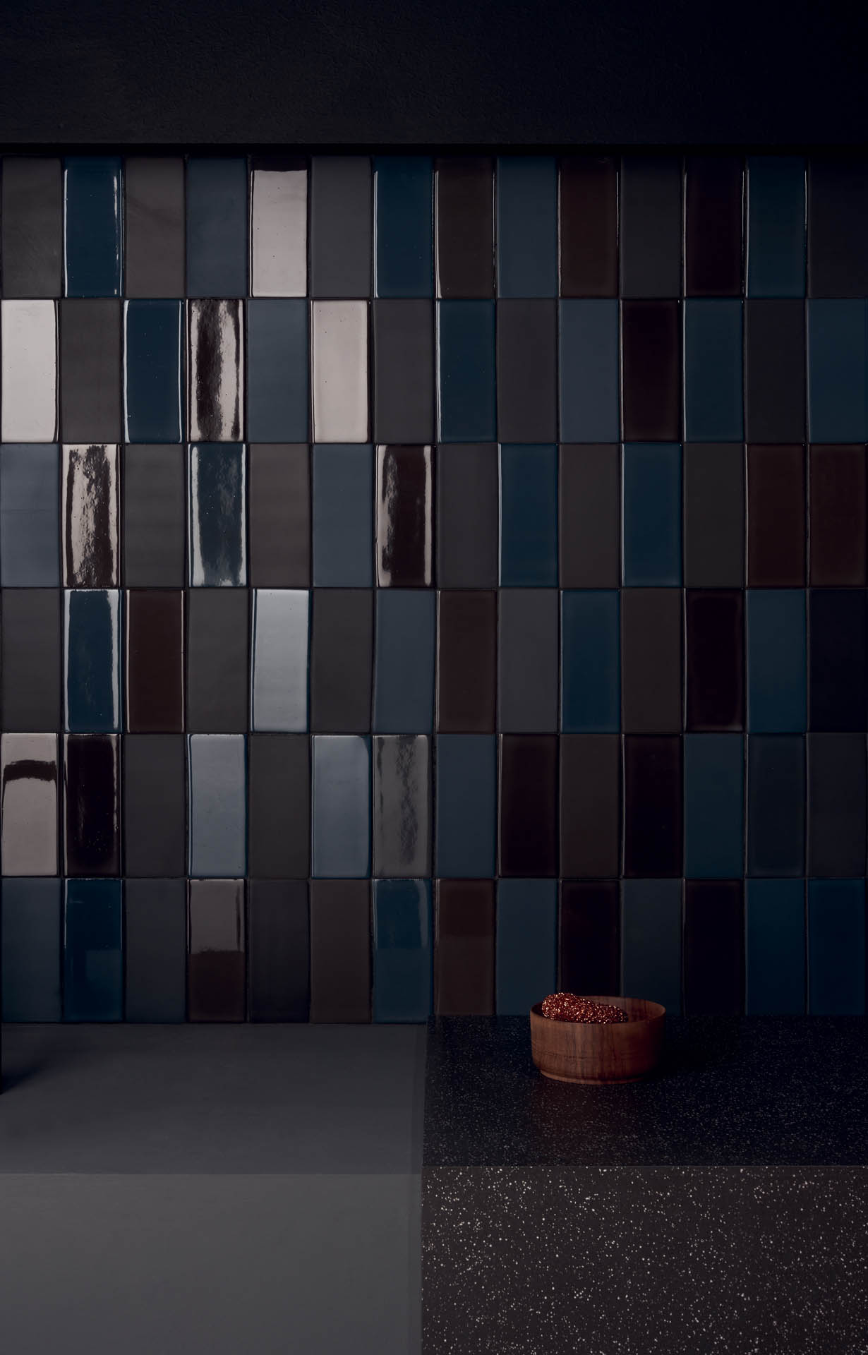 "Wall Brick Matte/Lux Blu-Nero 6,5x15,5 3""x6"" Floor and kitken top Cosmo Nero 80x80 32""x32"""