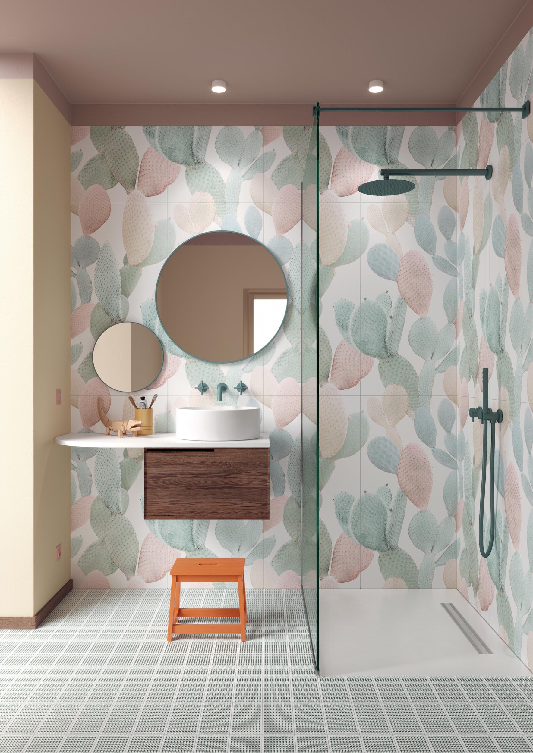 """Wall Paper41 Pro Marcela 50x100 20""""x40"""" - Floor Sunday Twist Salvia 10x20 4""""x8"""""""