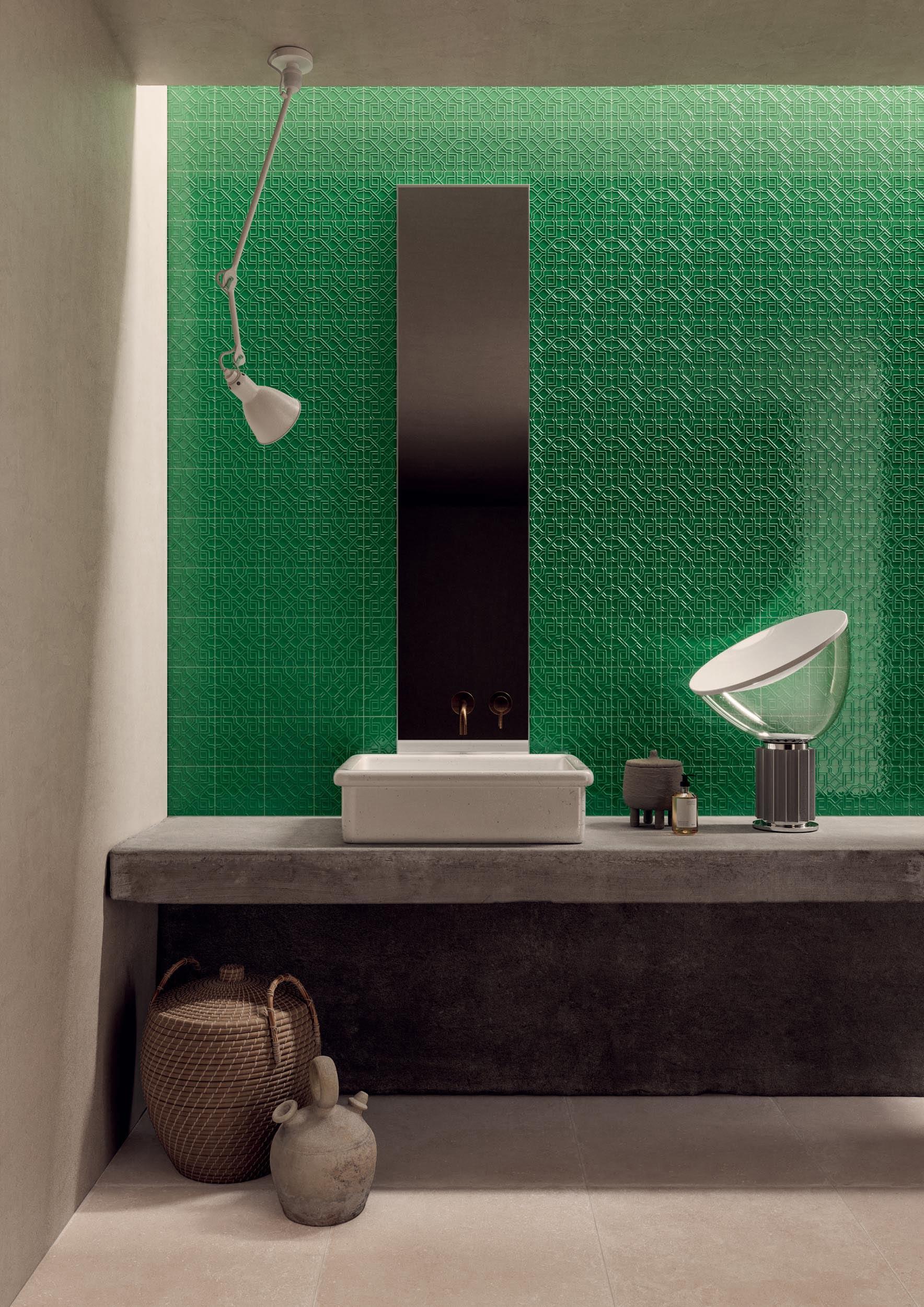 """Wall Superclassica SCB Path Verde 15x15 6""""x6"""" - Floor Superclassica SCB Crack 60x60 24""""x24"""""""