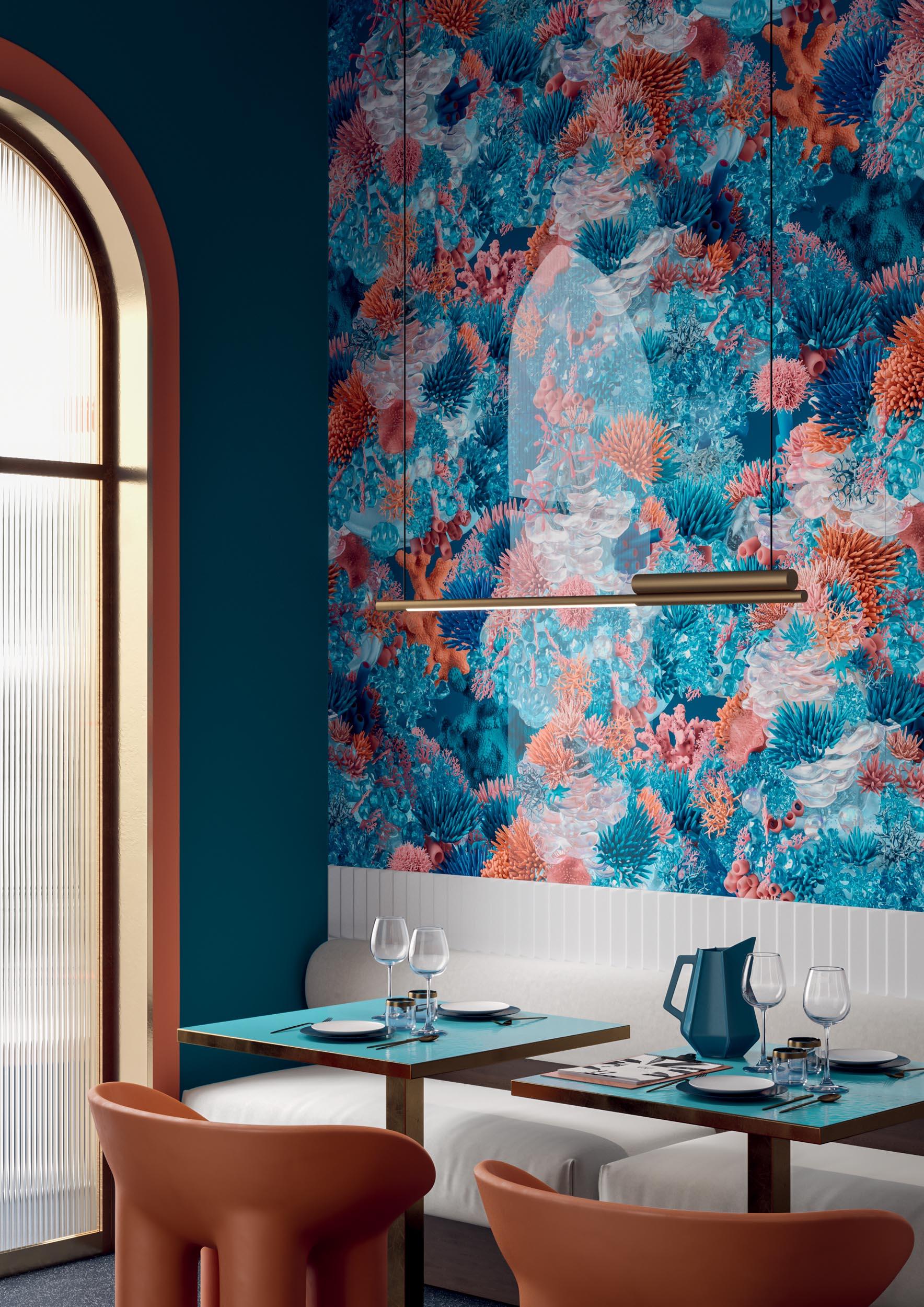 "Wall Paper41 Lux Jacques 60x120 24""x48"" / Biscuit Peak Bianco 5x20 2""x8"""
