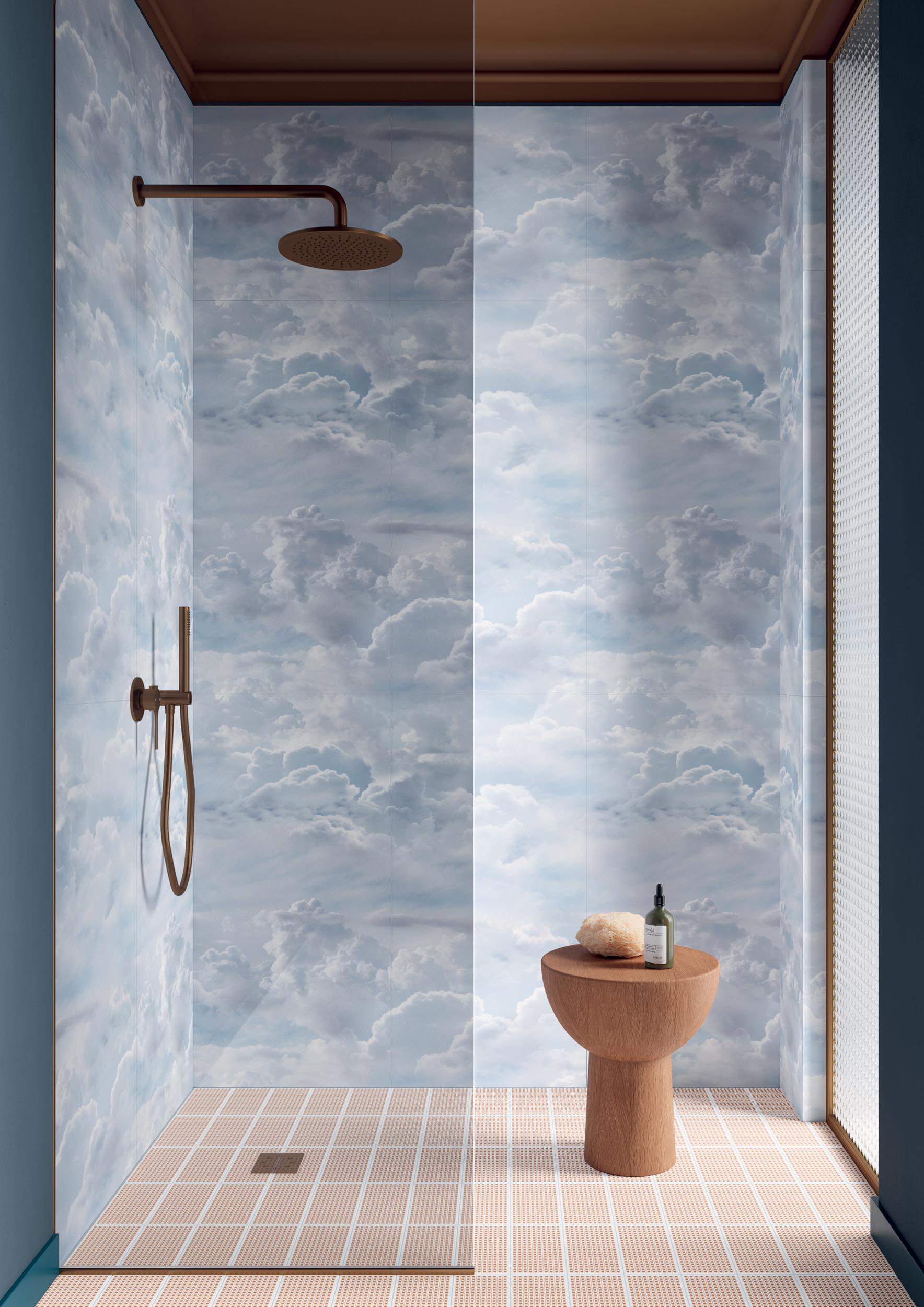 """Wall Paper41 Pro Azzurra 50x100 20""""x40"""" - Floor Sunday Twist Terra 10x20 4""""x8"""""""
