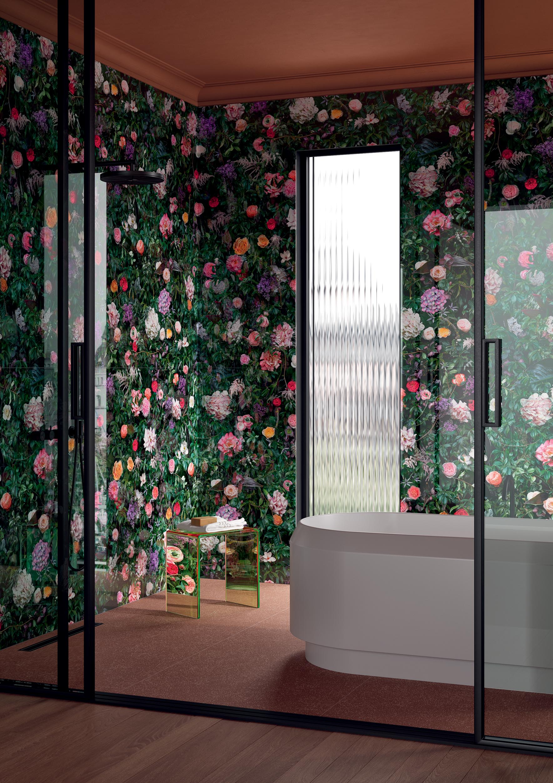 """Wall Paper41 Lux William 60x120 24""""x48"""" - Floor Cosmo Cotto 80x80 32""""x32"""""""
