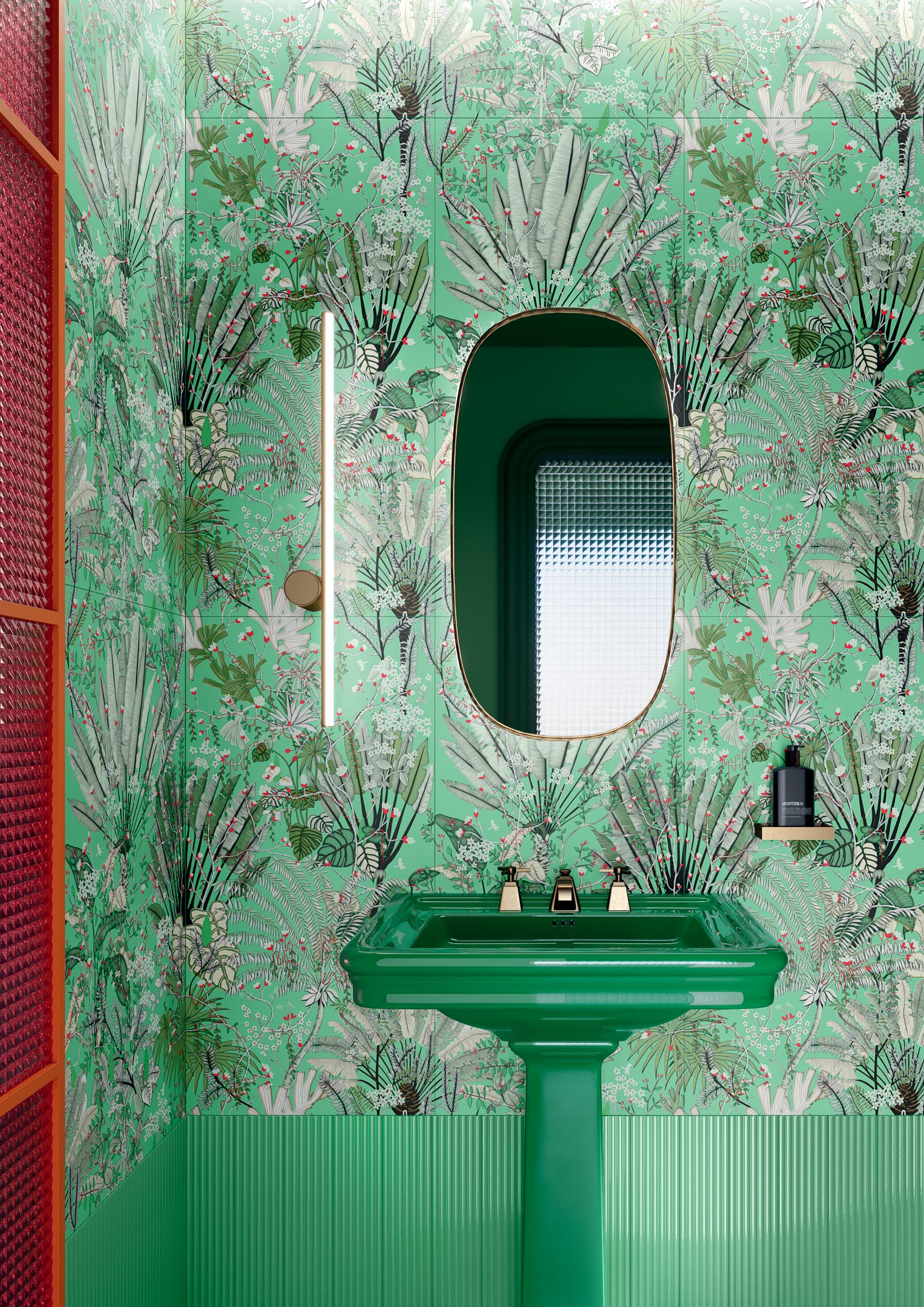"Wall Paper41 Pro Pilar 50x100 20""x40"" / Superclassica SCB Pli Verde 10x40 4""x16"""