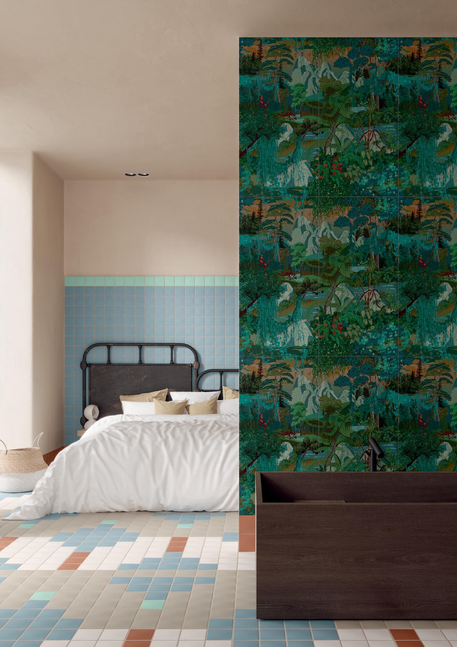 """Wall Paper41 Up Diana 50x100 20""""x40"""" / Pixel41 32/41 - Floor Pixel41 13/21/23/32/41 11,55x11,55 5""""x5"""""""