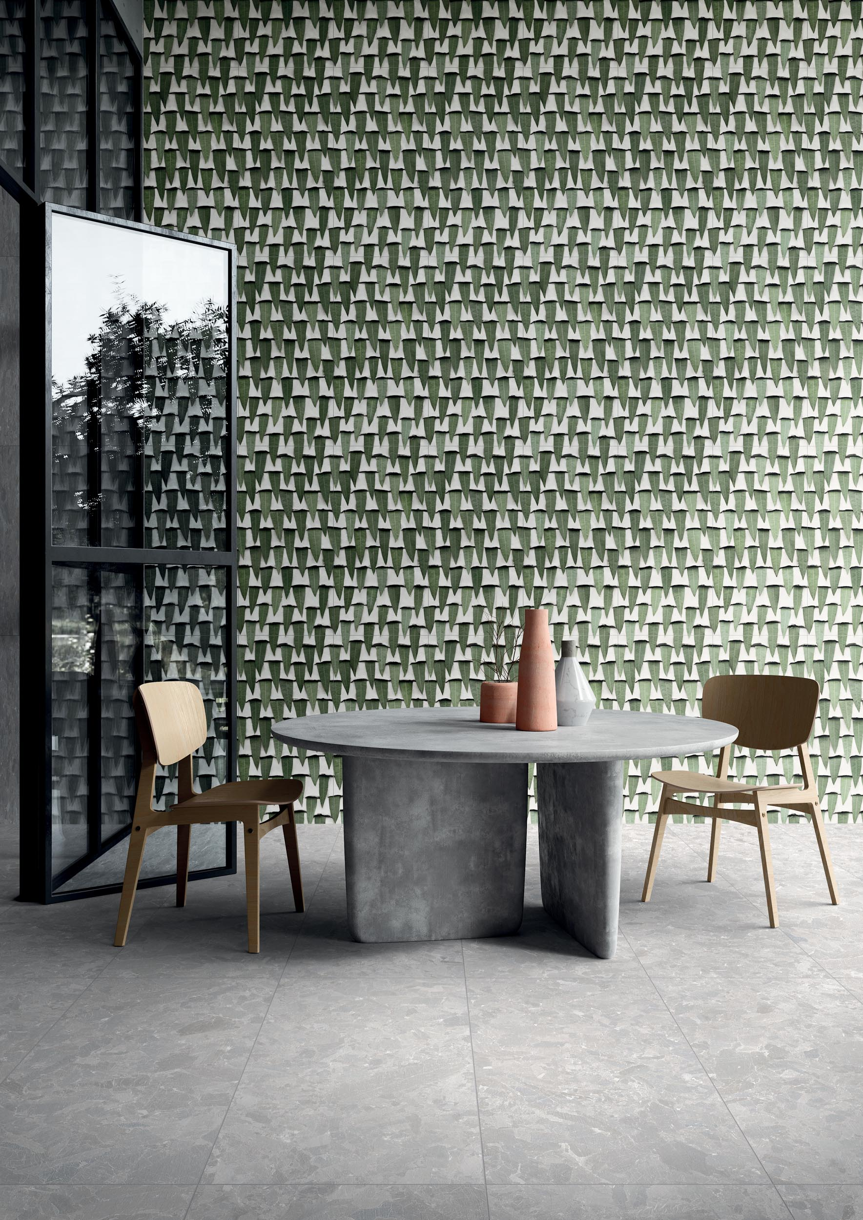 "Wall Paper41 Pro Silvi 50x100 20""x40"" - Floor Solo Grey 60x120 24""x48"""