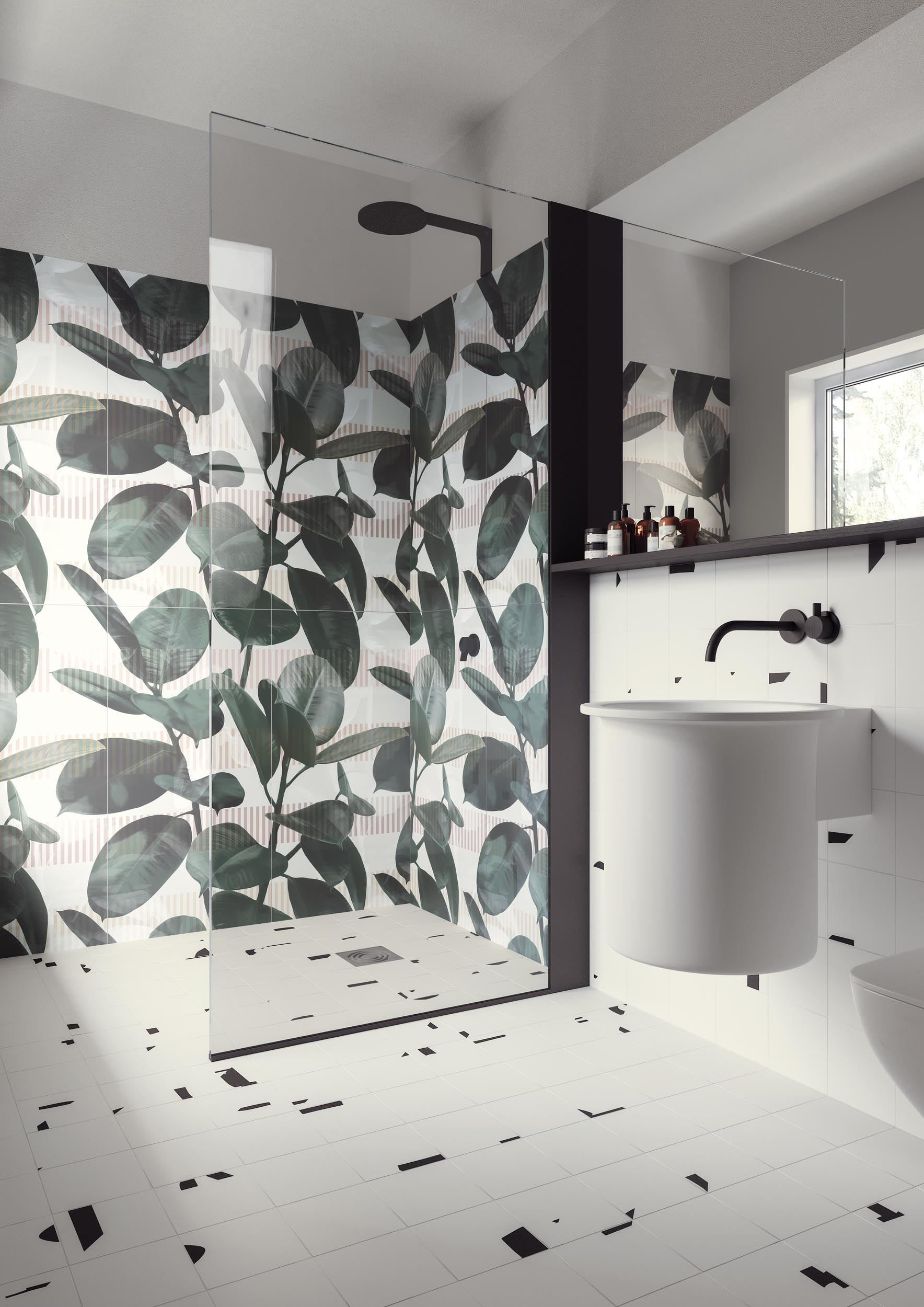 "Wall Paper41 Pro Olivia 50x100 20""x40"" - Floor Pack White-Black 15x15 6""x6"""
