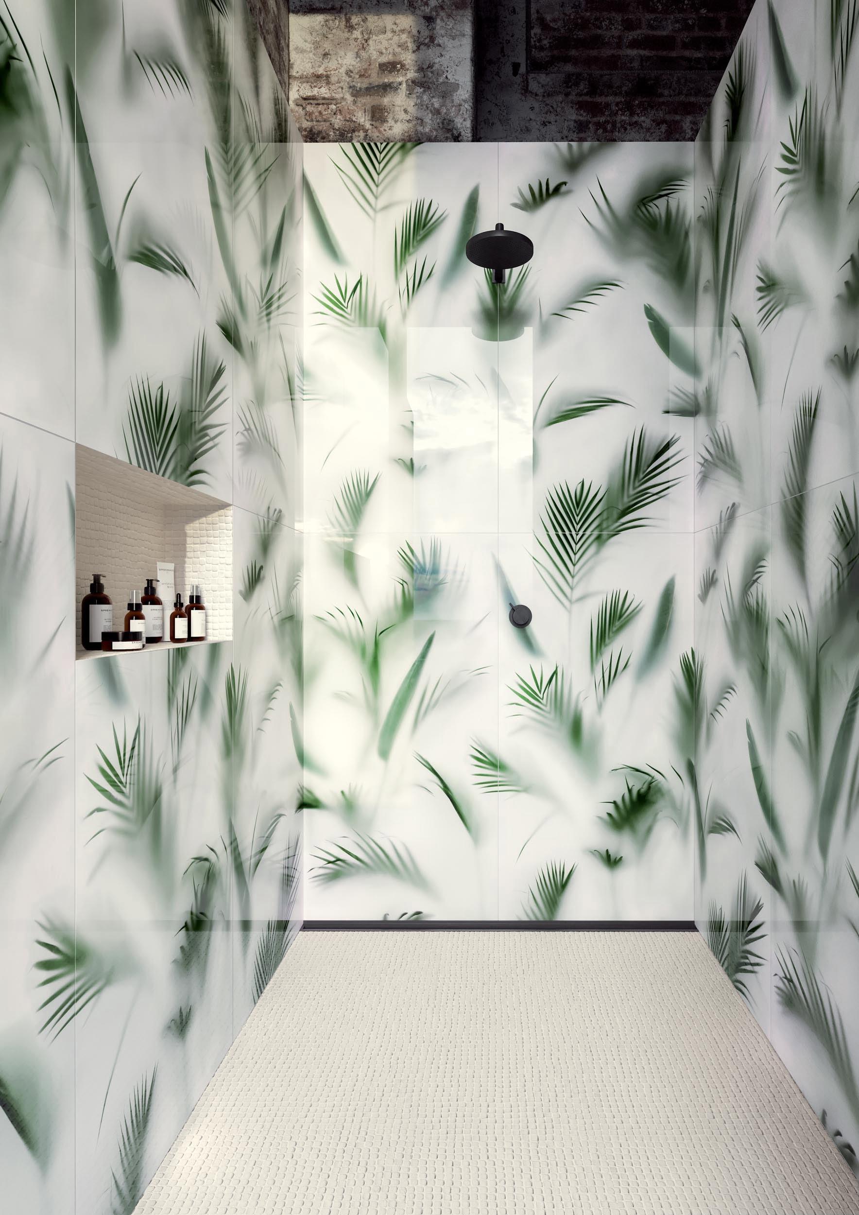 """Wall Paper41 Lux Cristoforo 60x120 24""""x48"""" / Nano Gap Bianco 30x30 12""""x12"""" - Floor Nano Gap Bianco 30x30 12""""x12"""""""