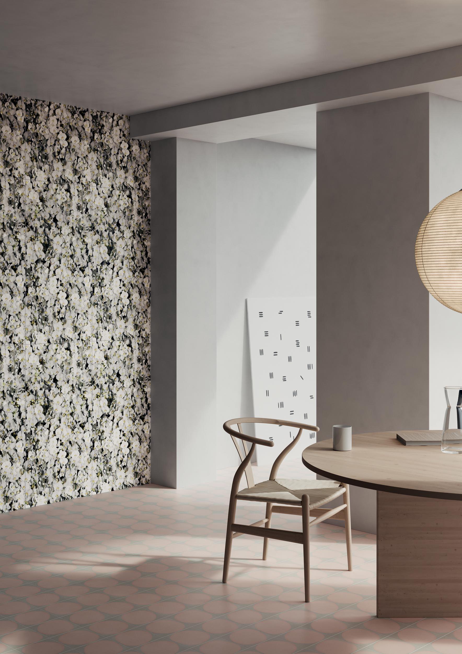 """Wall Paper41 Pro Eva 50x100 20""""x40"""" - Floor Futura Drop Rose 15x15 6""""x6"""""""