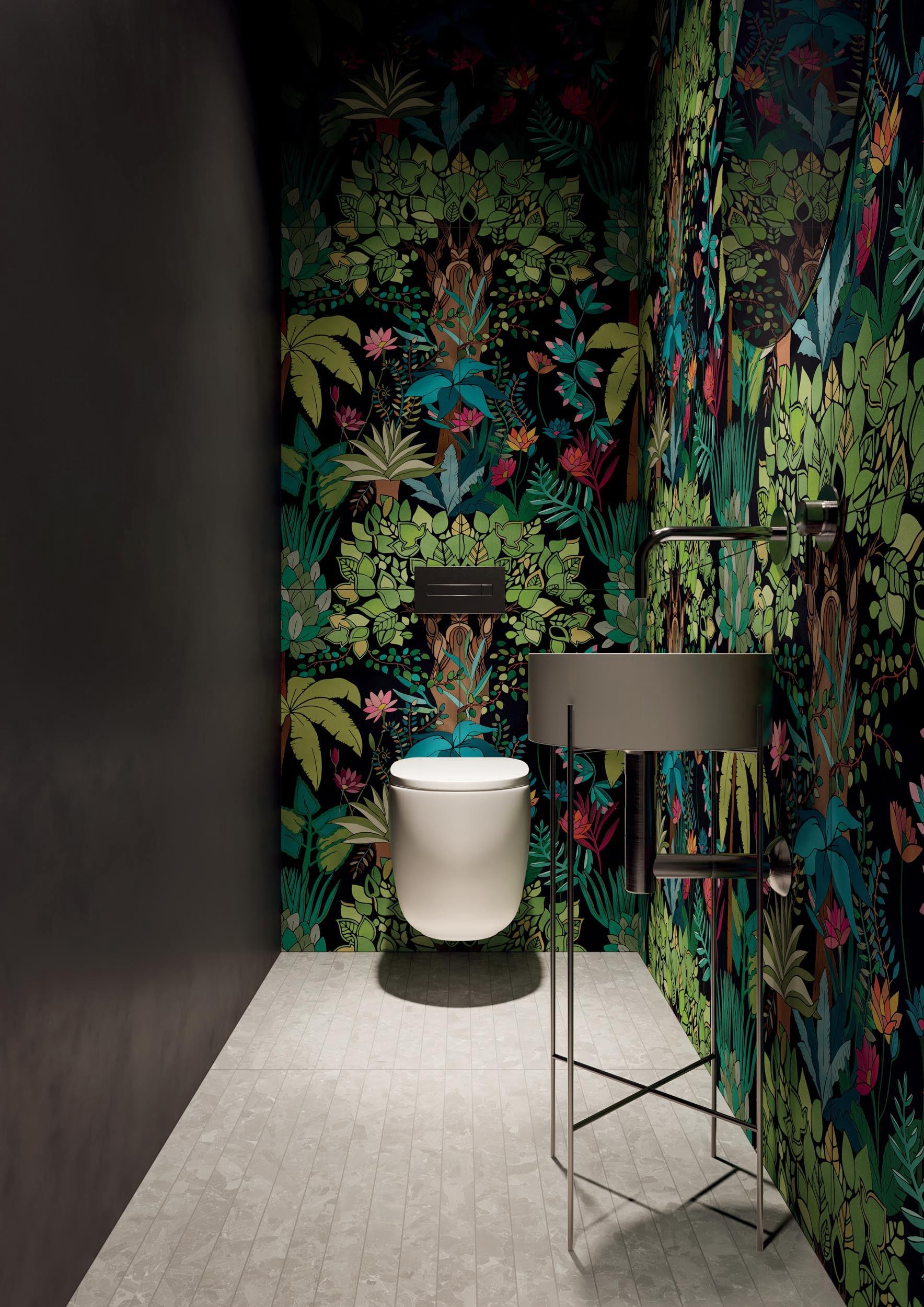 """Wall Paper41 Pro Flora 50x100 20""""x40"""" - Floor Solo Grey 5x80 2""""x32"""""""