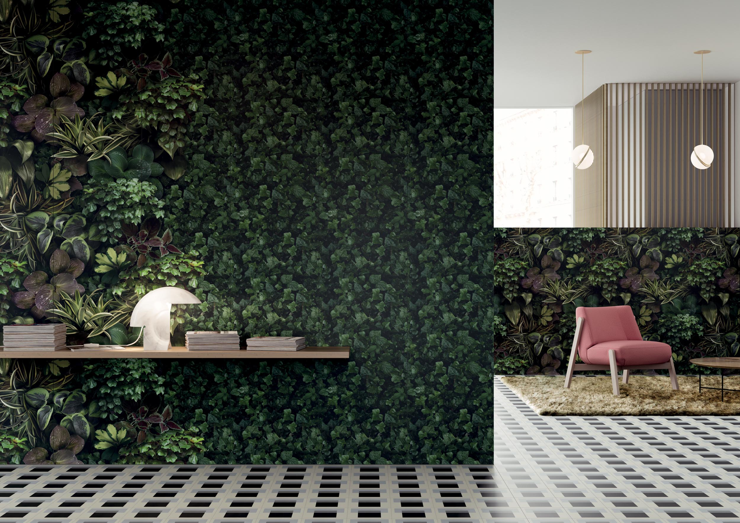 "Wall Paper41 Pro Jane B / C / D / E 50x100 20""x40"" - Floor Futura T Blue 15x15 6""x6"""
