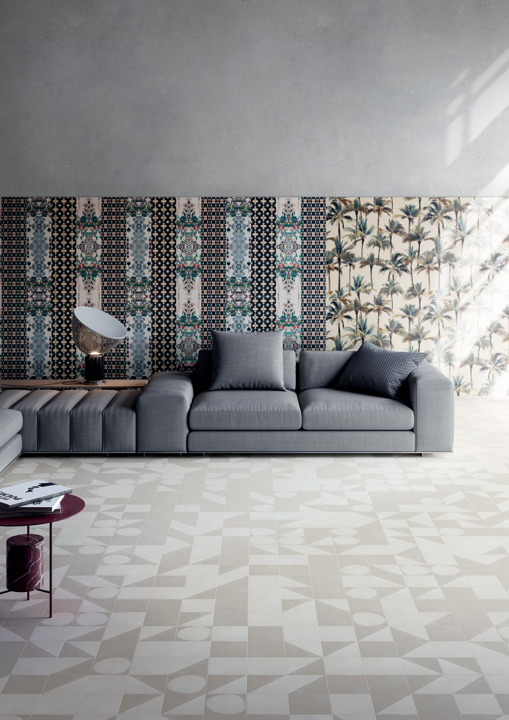 """Wall Paper41 Pro Paz / Luz 50x100 20""""x40"""" - Floor Futura White / Grey / Half White / Drop White 15x15 6""""x6"""""""
